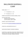 BALLINGER BASEBALL CAMP