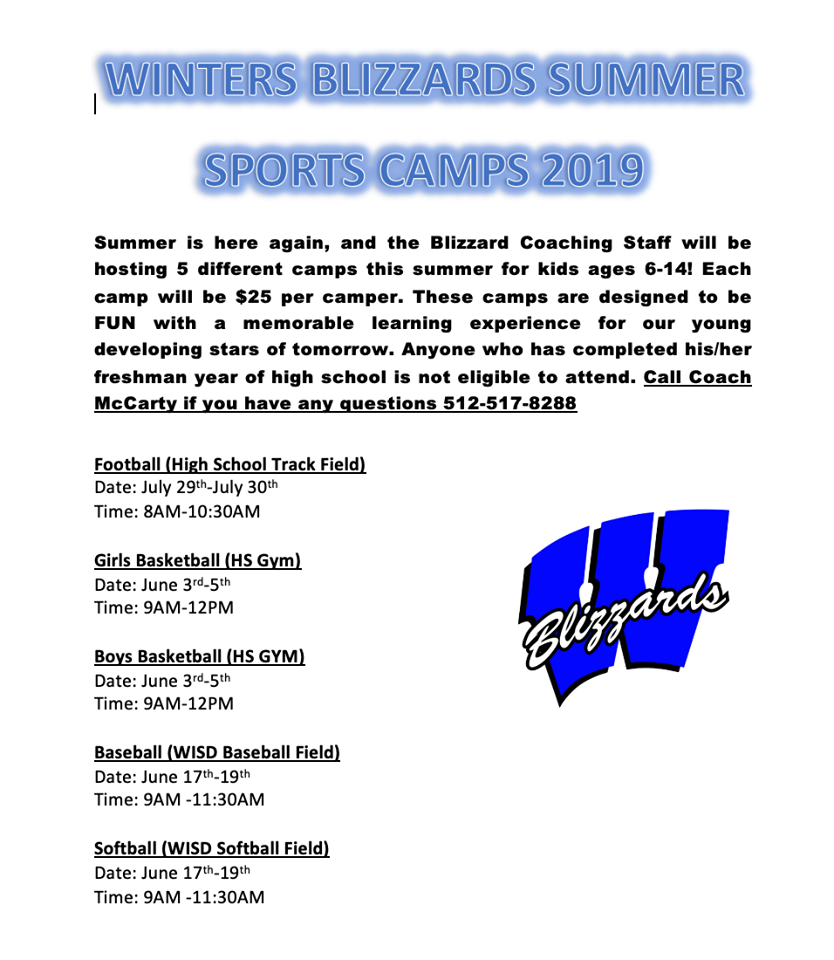 2019 Winters Summer Camps