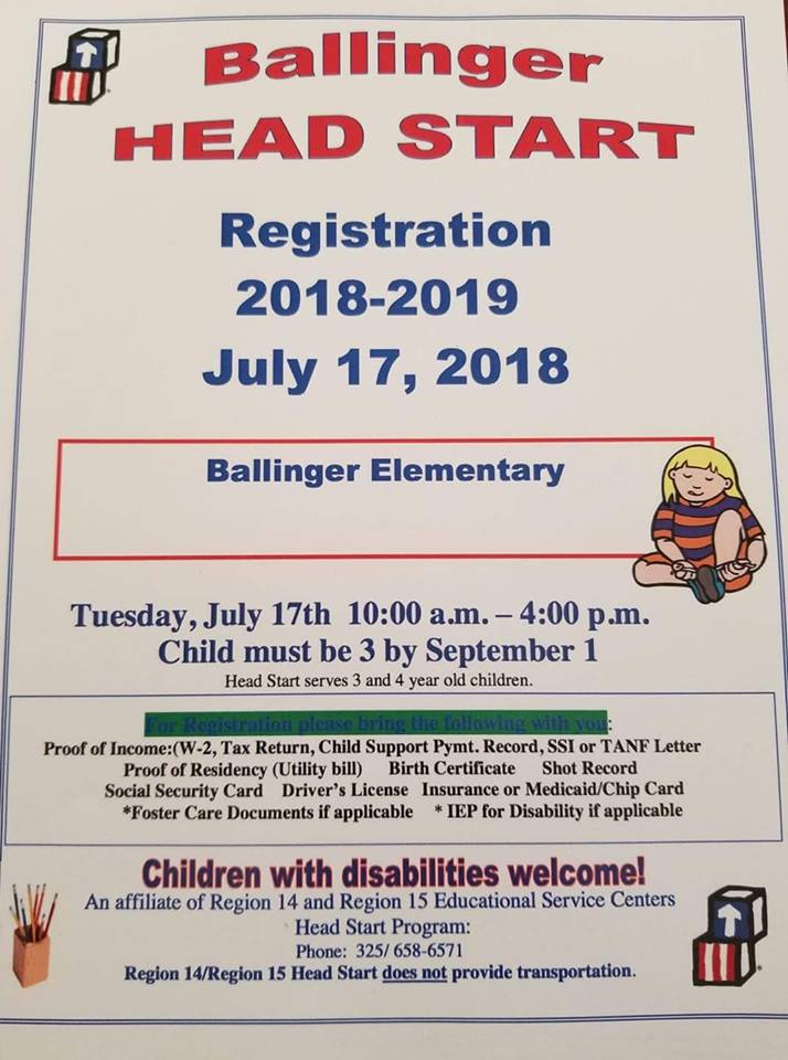 Ballinger Head Start Registration
