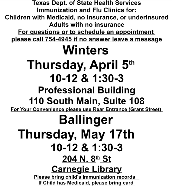 Immunization Clinic - Ballinger May 2018