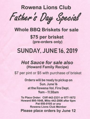 Lions Club Brisket Sale - Fathers Day