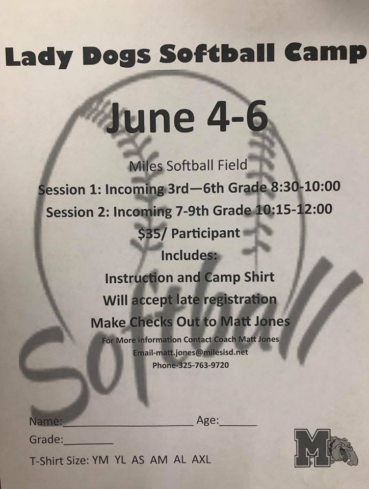 Miles Softball Camp 2019